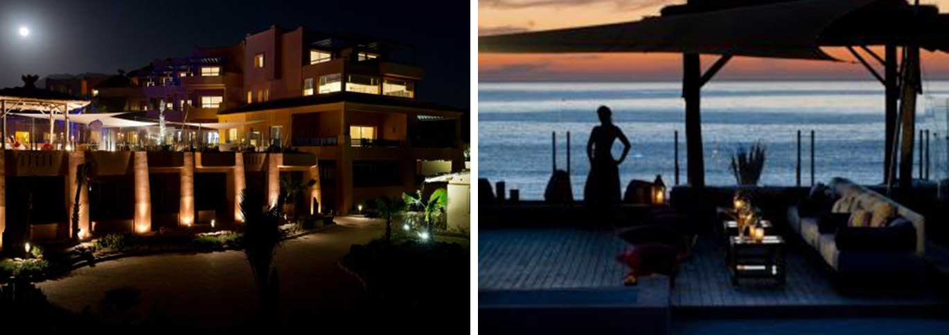 View of the exterior at night and the pool lounge at sunset at of Paradis Plage
