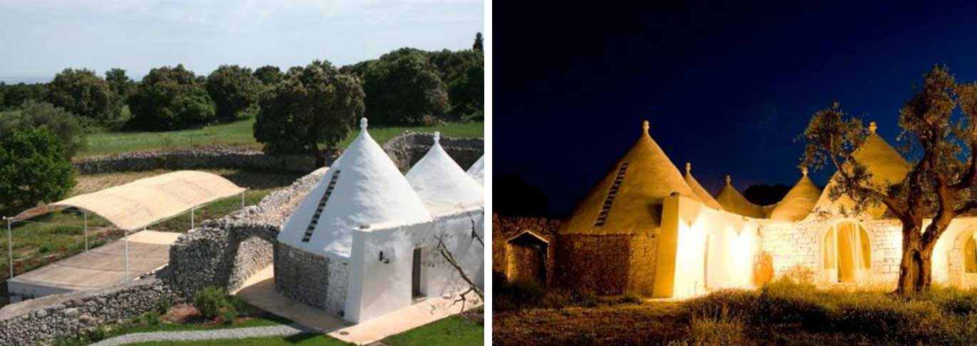 Exterior view at day and night time of La Rosa dei 4 Venti in Puglia, Italy