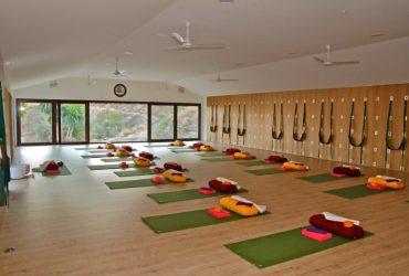 Interior of the yoga studio at Santillan