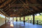 A yoga class in progress in the pavillion at Shanti Som