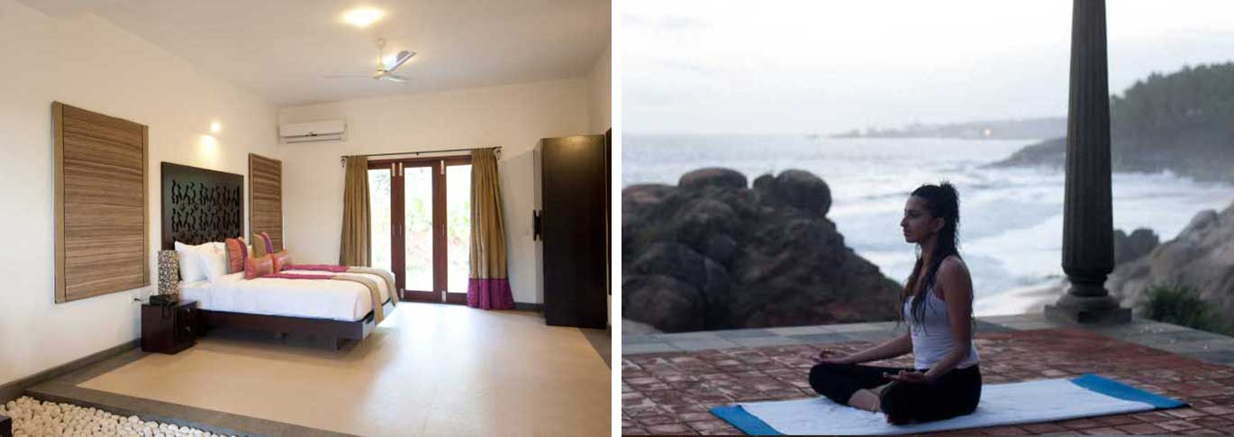 Bedroom interior and yoga on the terrace