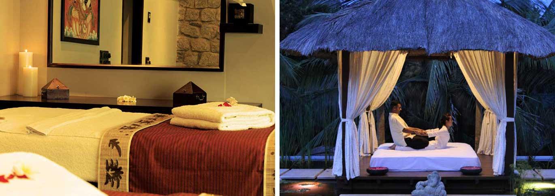 Spa interior and outside massage pagoda