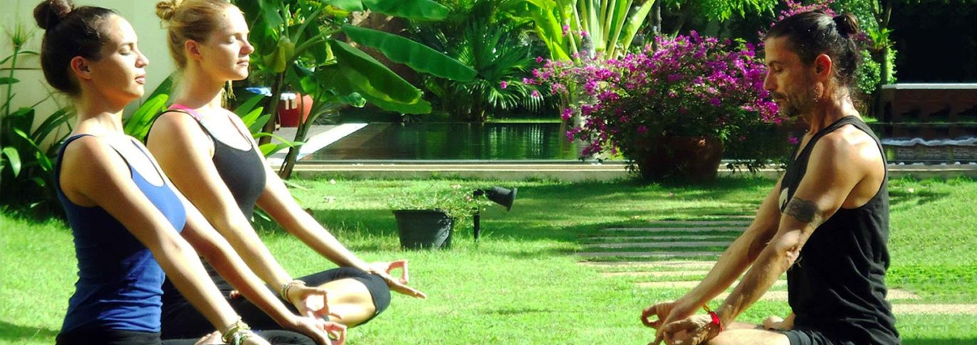 Pranayama meditation in the garden at Navutu Dreams, Cambodia