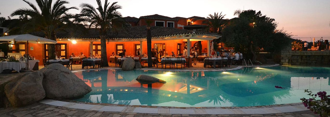 Dusk by the pool at Galanias, Sardinia