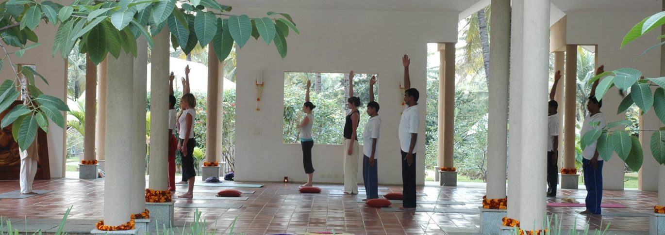 Yoga in the outdoor pavillion at Shreyas india
