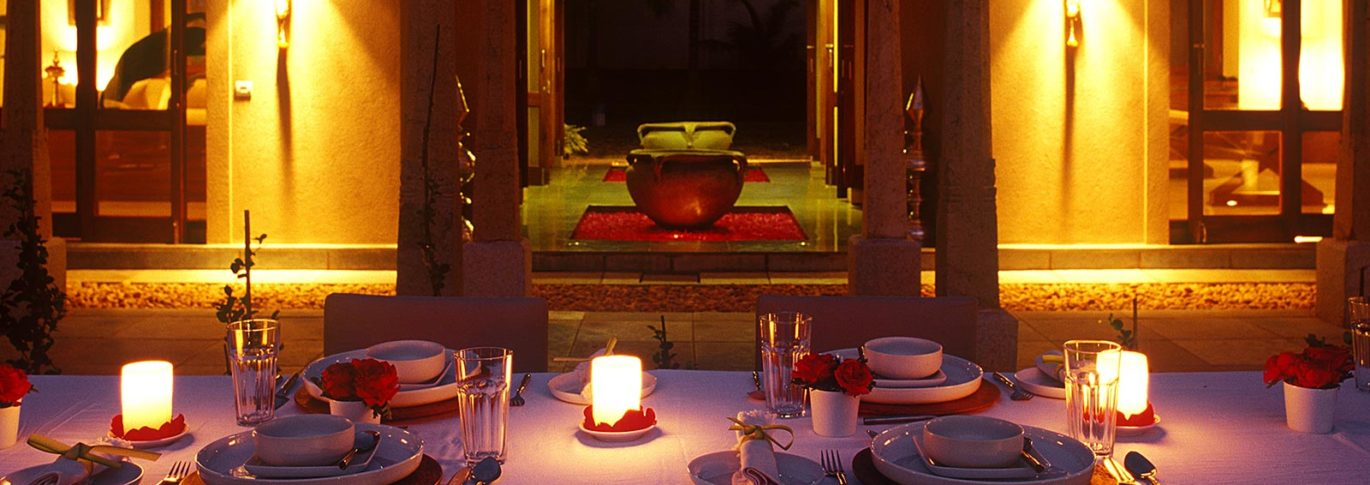 Dinner by the pool at Shreyas India