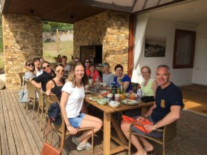 Group dining on yoga retreat