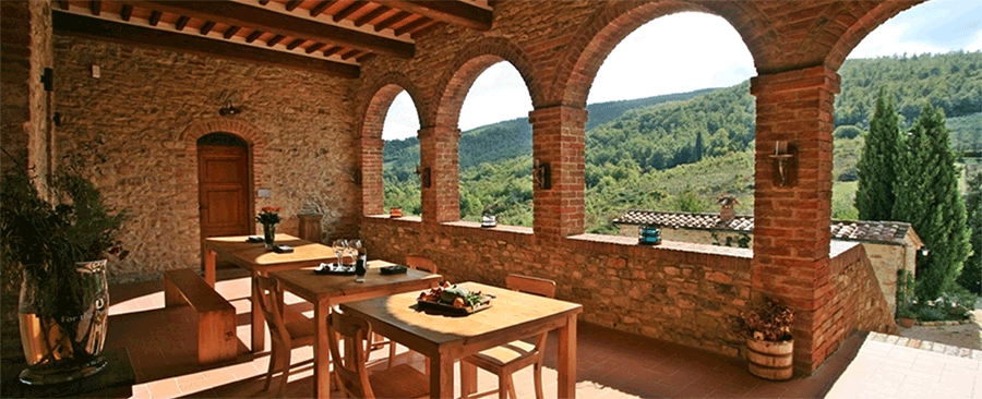 veranda at Cugnanello Tuscany