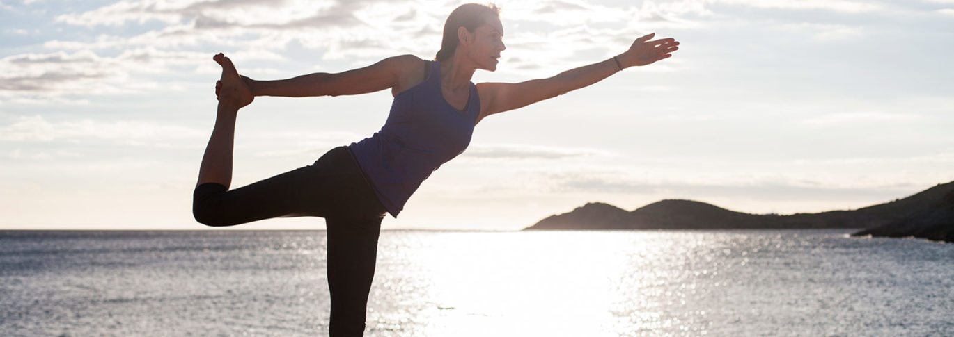 Yoga with sea backdrop at YogaRosa