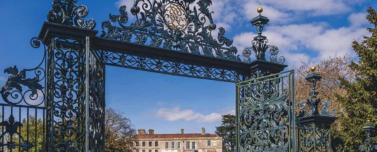 Elmore Court seen through the main gate